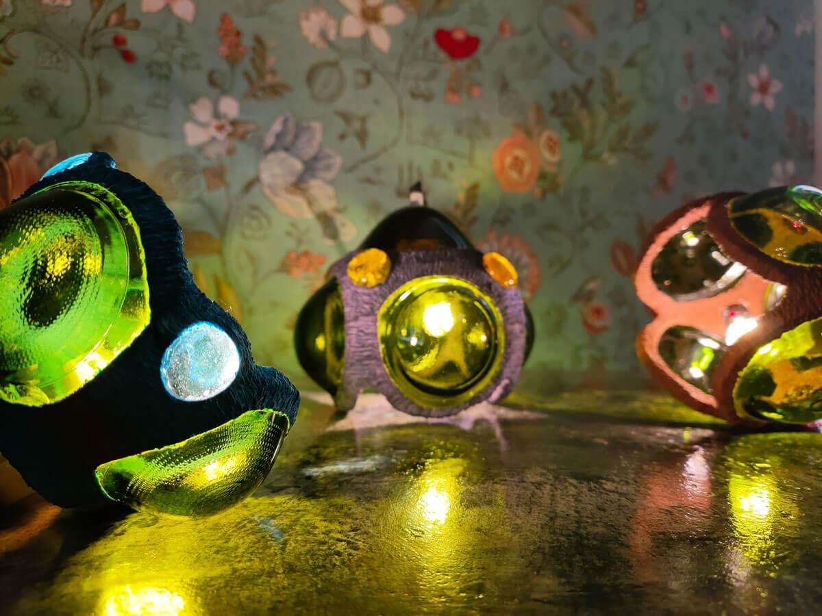 Création en vitrail ecologique lampe Floraluz