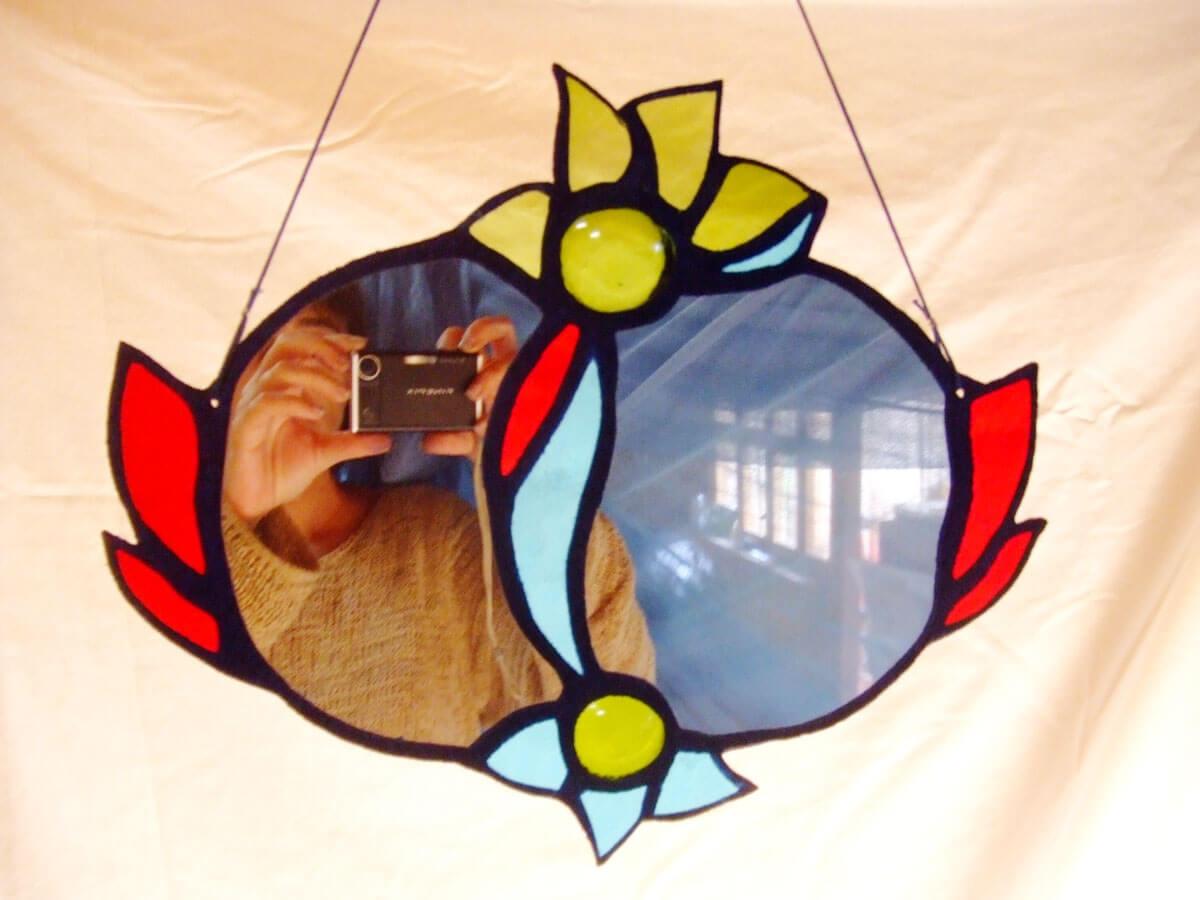 Création en vitrail ecologique miroir Floraluz