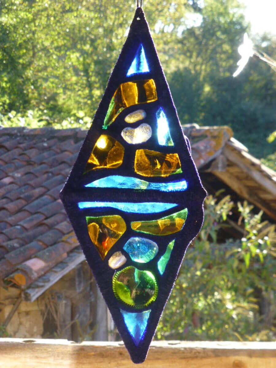 Création en vitrail ecologique sun catcher Floraluz