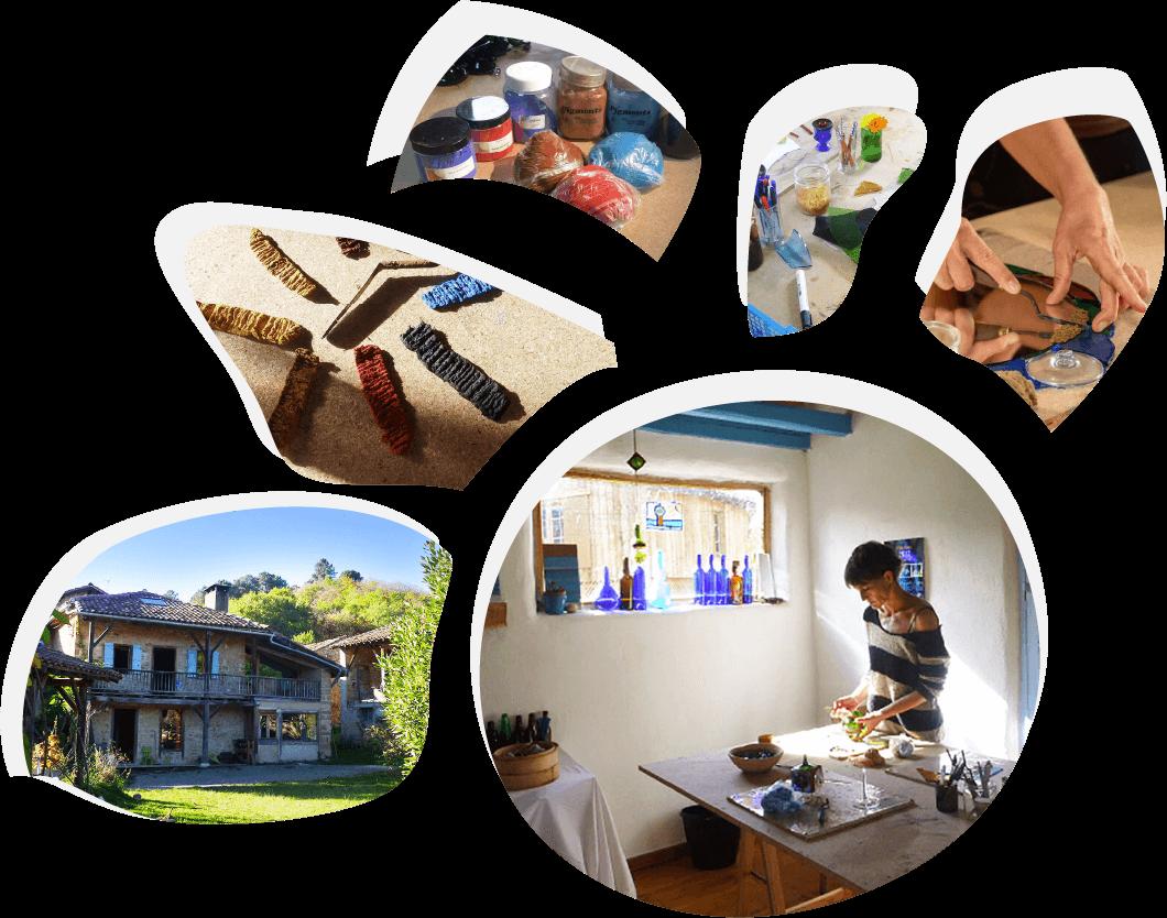 Stages d'initiation au vitrail écologique à Montfa en Ariège avec Florence Ferrié